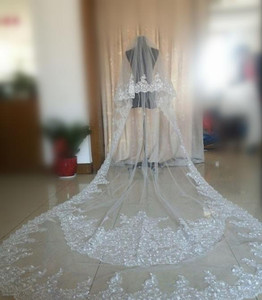 Real Image Two Layer Bridal Veils Romantic Cathedral Length Wedding Veils With Lace Applique White Ivory Veils Custom Made