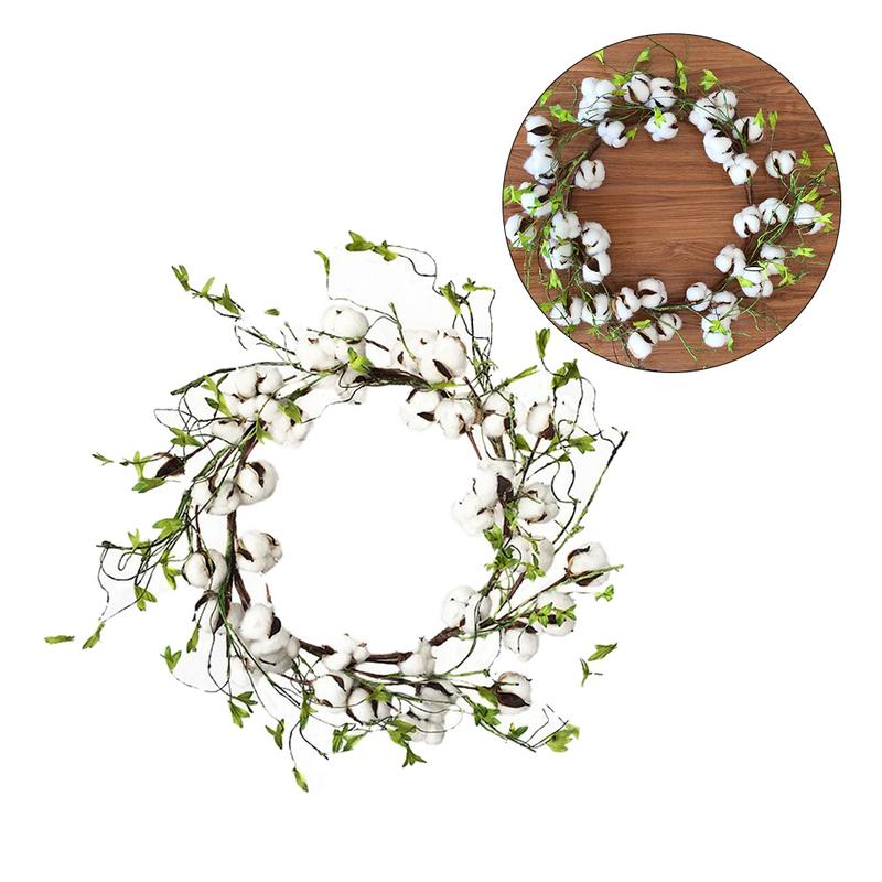 Christmas Decorating Props Cotton Farmhouse Decor Simulated Dry Cotton Green Leaf Wreath Round Lintel Wreath Home Pendant image