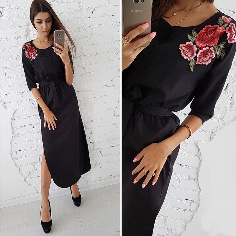 Neue Mode Rose Appliques Seite Split Kleid Frauen 2018 Herbst Abgerundetem Saum Halbarm Nahen Lange Kleid Schärpen Casual Kleid