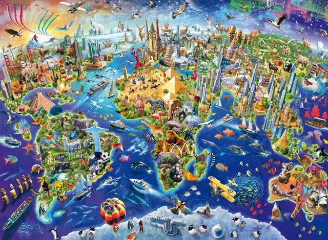 Colorful world map The wooden puzzle 500 pieces ersion jigsaw