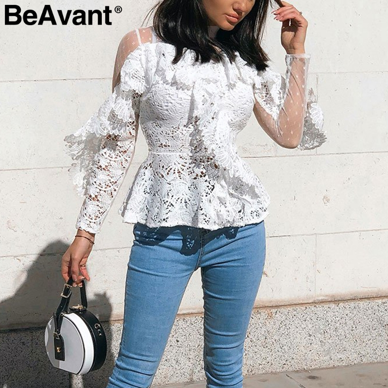 BeAvant Ruffled Lace Embroidery White Women Blouse Elegant Mesh Hollow Out Long Sleeve Female Tops Sexy Ladies Party Tops Shirt