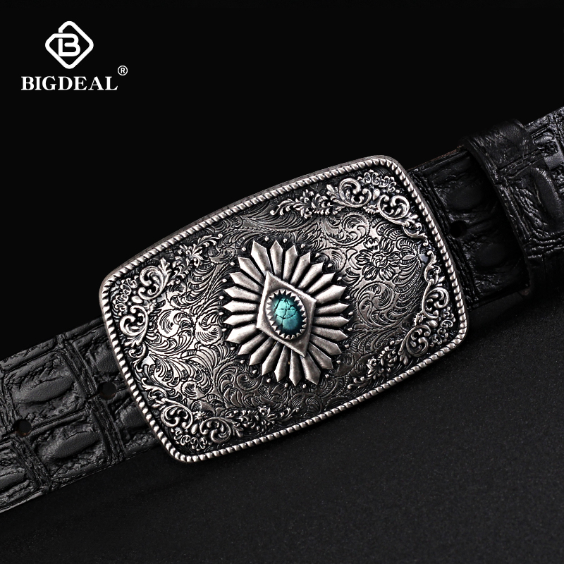 BIGDEAL 2018 Belt For Men Cowskin Genuine Lether Personality Buckle Quality Male Strap Vintage Jeans