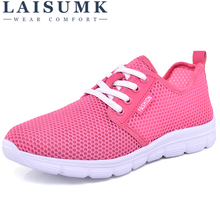 LAISUMK Feminino New Air Mesh Light Sneake Women big Size 35-40 Outdoor Summer Breathable Comfortable Flat Shoes ladies shoes