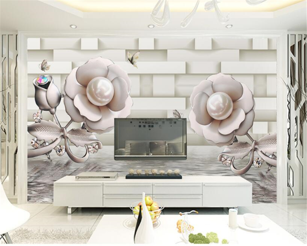 beibehang Custom high quality silk cloth wallpaper 3D rose water wave reflection TV background wall wallpaper for walls 3 d