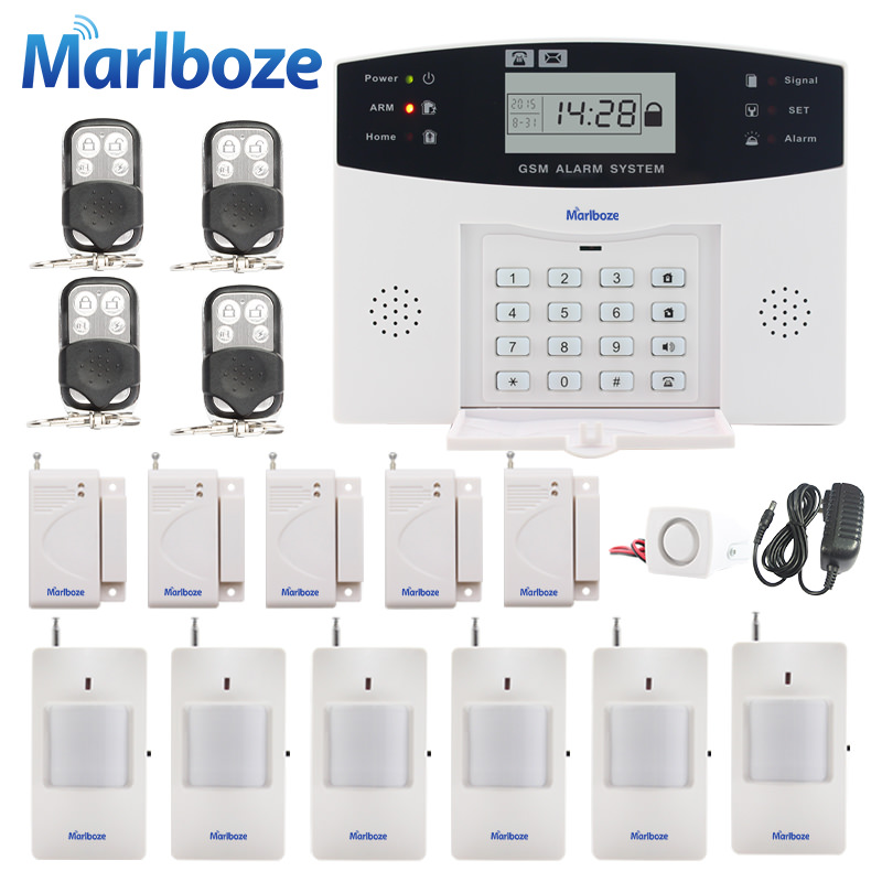 Russian/French/Spanish Voice Prompt GSM SIM Home Burglar Security Alarm System Remote Control Kit Infrared Detector Door Sensor женские кулоны jv серебряный кулон с куб циркониями ps0249 glzi 001 wg