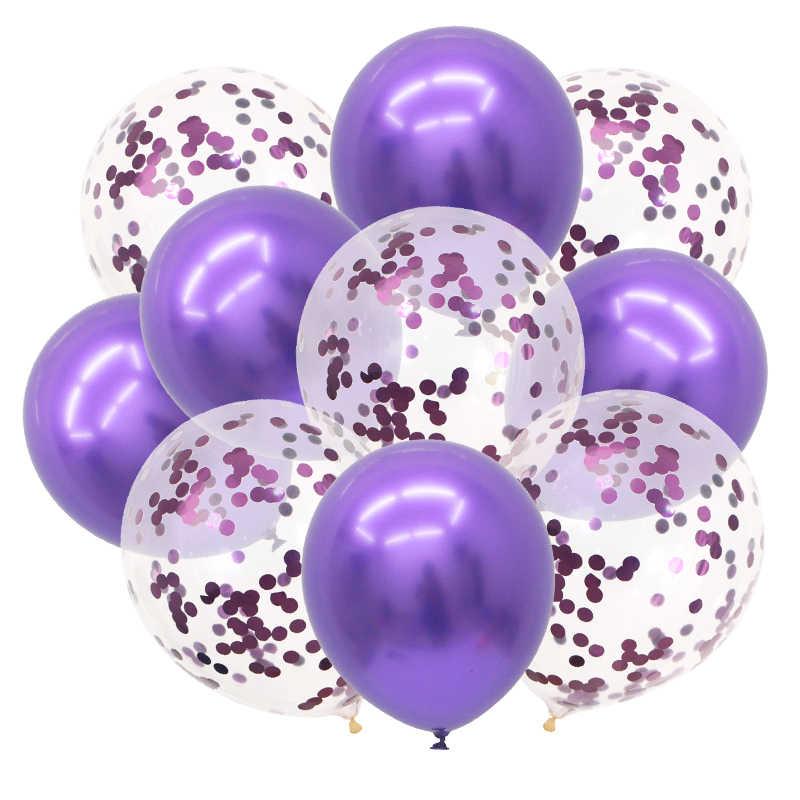 10 pçs/lote 12 polegada Decorações Da Festa de Aniversário Balões De Látex E Confetes Coloridos Mix Subiu Decoração Do Casamento Balão De Hélio