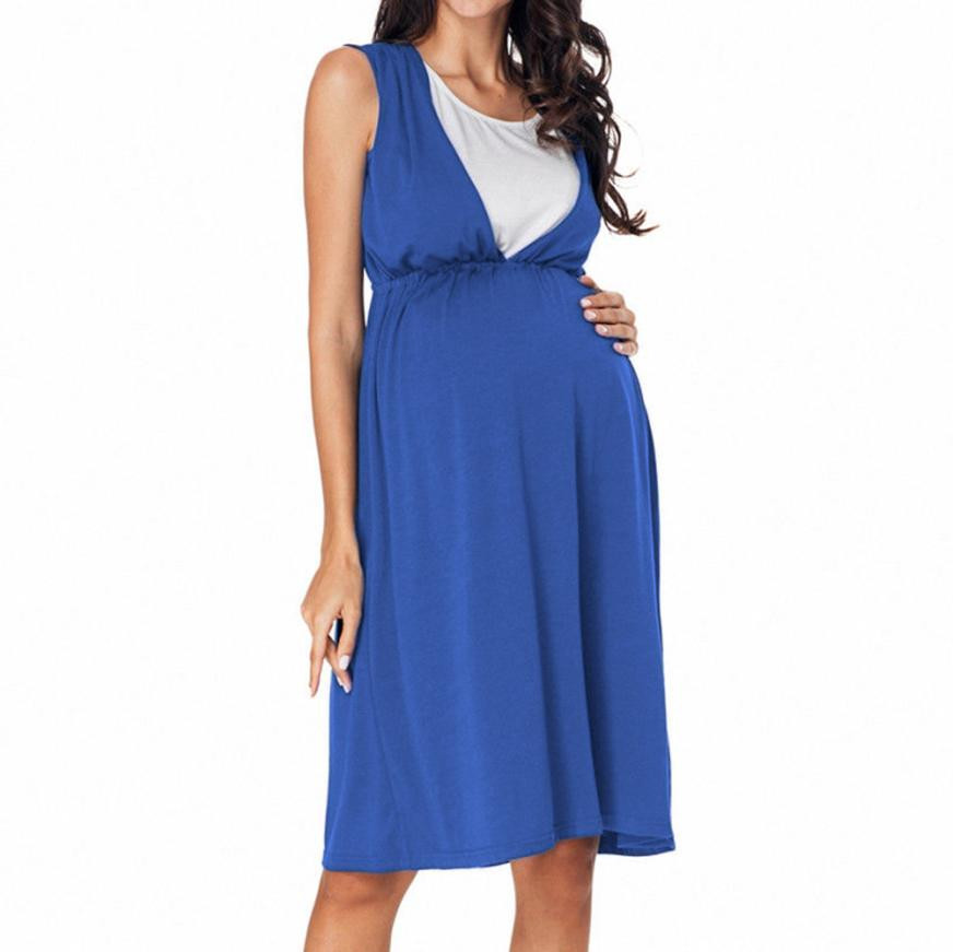 summer pregnant Womens Top Vestidos High Waist Tunic Sleeveless Vest Maternity Dress Breastfeeding and Nursing Women Dresses