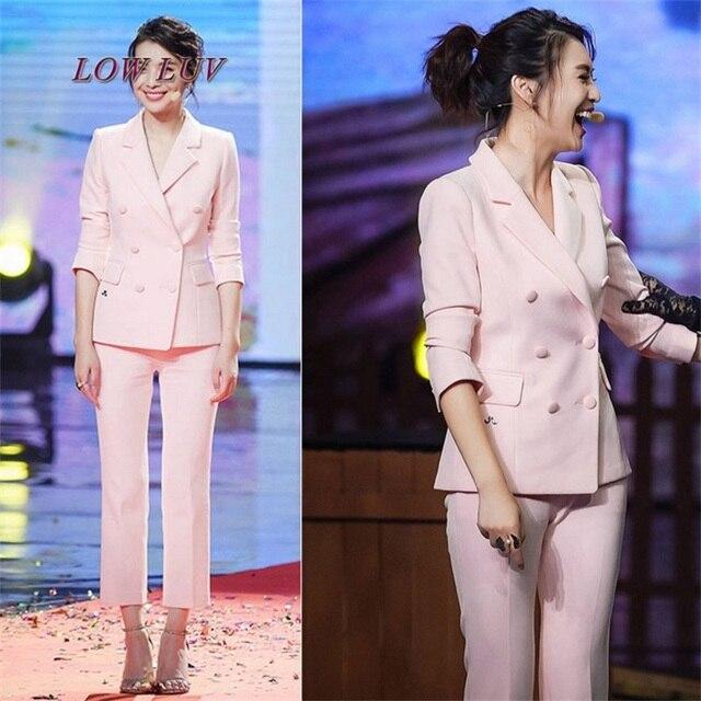 98d885d376a Women s Business Suits Formal Office pant Suits female Work wear 2 Piece  Sets One Button Uniform