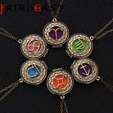 Faitheasy Twelve Constellations Necklace Pendant Gold-color Alloy Men Women Necklace Jewelry Gift
