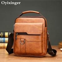 Small Briefcase Men's Messenger Bag Men Leather Shoulder Bags Man Business Crossbody Bags For IPAD Air Mini Male Leather Handbag