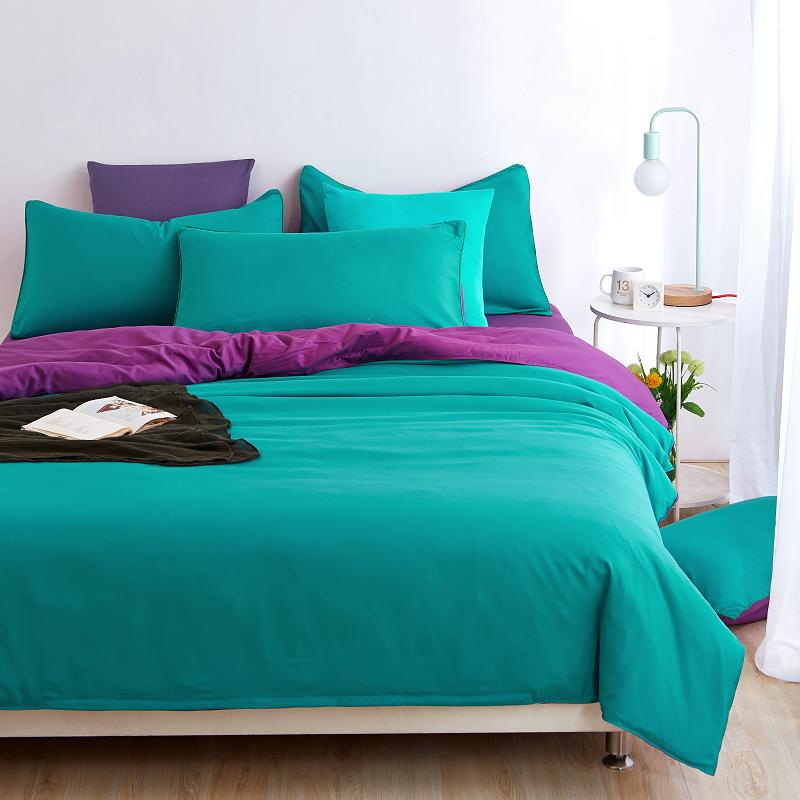 Home Textiles Cyan Purple Solid Color Bedding Sets