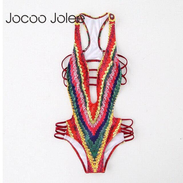 Jocoo Джоли Sexy Глубокий шеи Для Женщин Вязаный комбинезон индийский Стиль Для женщин клуб и летние пляжные Wearings костюмы пляжного типа с открытой спиной 2018 Новый