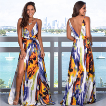 Summer New Women Sexy Sling Slim Fit Waist Overlap Slit Long Dress Front And Back Deep V Neck Party Club Sleeveless Dress F4