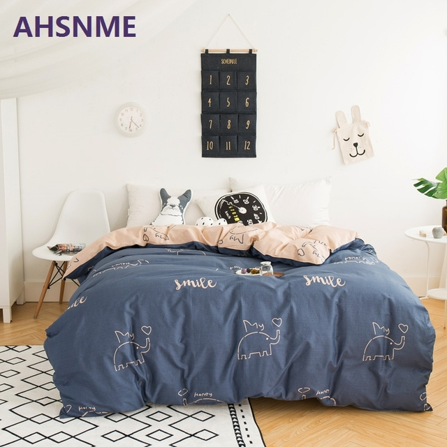 AHSNME 100% Cotton Bedding Items Europe Russia Australia United States size gray and brown with whale plant duvet cover Bed S