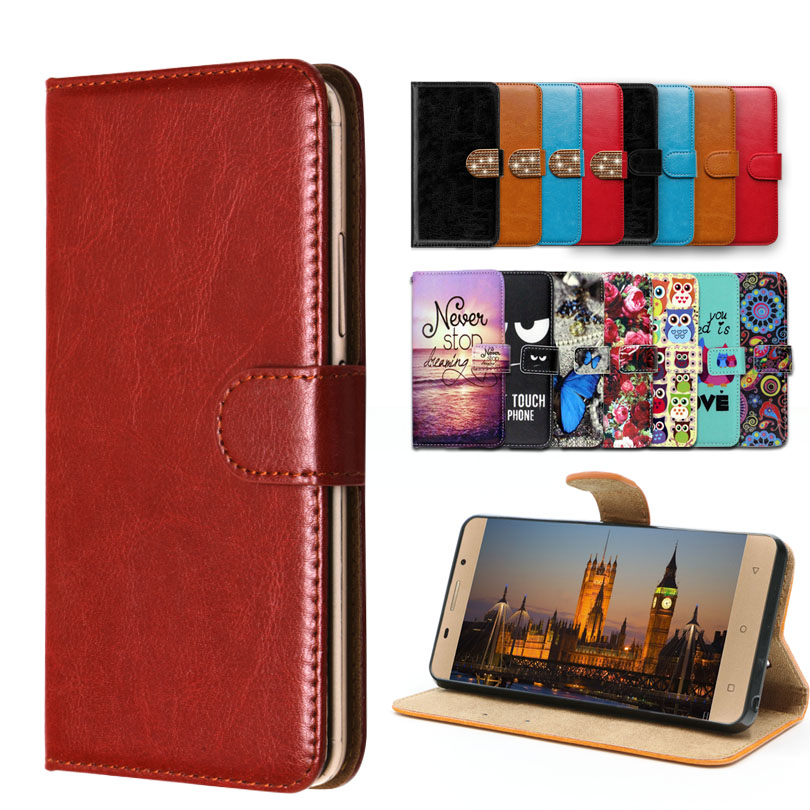 Vintage Flip <font><b>Case</b></font> with kickstand Luxury PU Leather <font><b>case</b></font> for <font><b>Philips</b></font> Xenium <font><b>X818</b></font>,lovely cool Cartoon Wallet Fundas Cover image