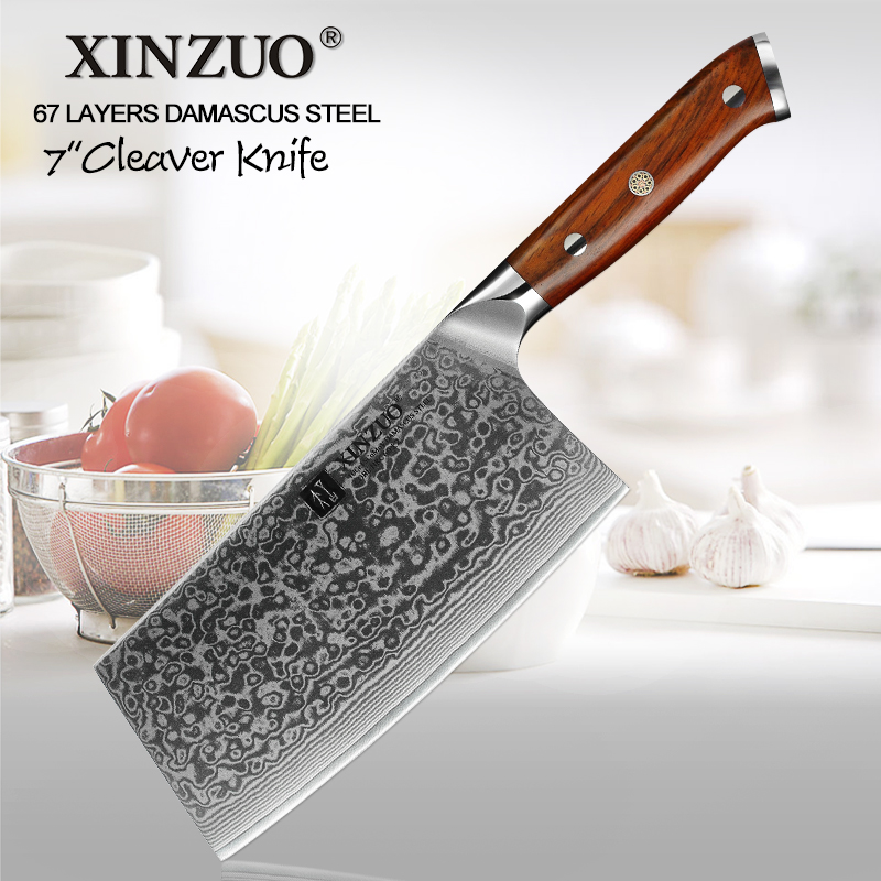 Oprecht Xinzuo 6.5 ''vleesmes Damascus Keukenmessen Chinese Stijl Hoge Kwaliteit Carbon Staal Slager Hakmes Mes Palissander Handvat
