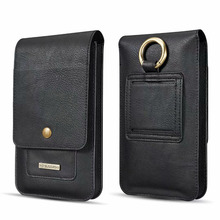 6.5 Inch Leather Phone Pouch Bags Hook Loop Belt Clip Case For Samsung Galaxy Note 8 9 Wallet Cover For iPhone X For Huawei P20