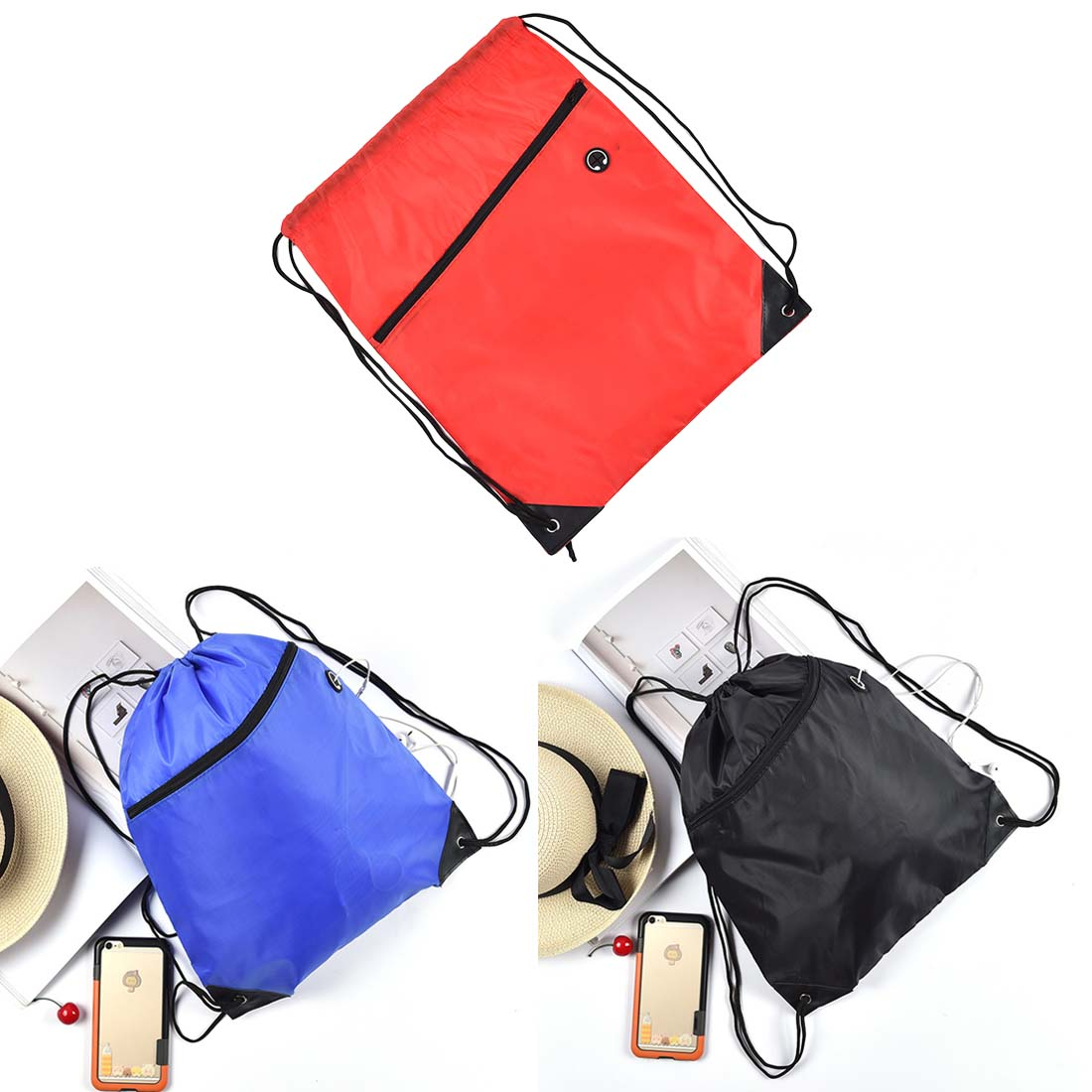 Storage Baskets Gym Storage Bag Nylon Sports Drawstring Riding Backpack Shoes Container Bag Organizer Storage Basket Waterproof Color Random