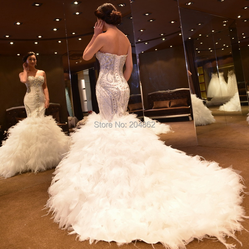 Wedding Gown With Feathers: 2015 Amazing Luxury Tube Top Slim Waist Crystal Rhinestone