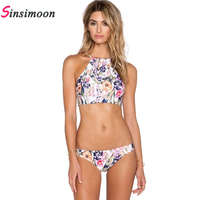 2017 New Sexy Floral Print Bikini Set 2 Pieces High Neck Padded Swimsuit Halter Top Swimwear