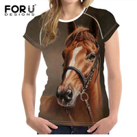 FORUDESIGNS Crazy Horse T Shirt Women Tops 3D Funny Summer Plus Size Short Sleeved Youth Girls