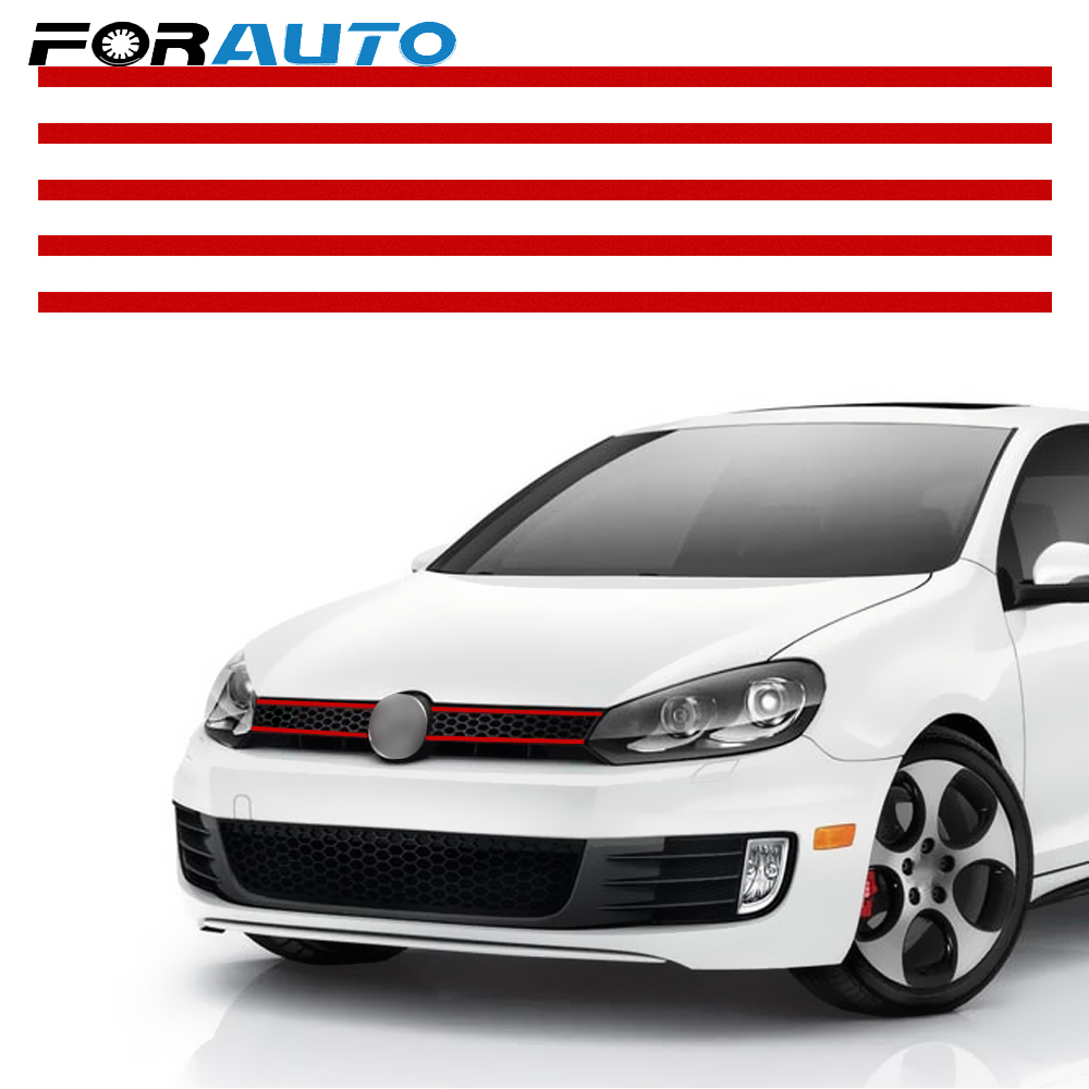 FORAUTO Reflective Stickers For VW Golf 6 7 Tiguan Car Strip Sticker Car Styling Front Hood Grille Decals Auto Decoration