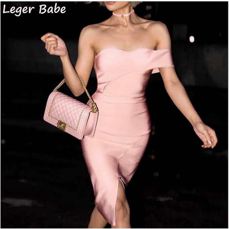FH63 Leger Babe 2018 летнее Клубное платье знаменитостей с открытыми плечами розовые вечерние Бандажное платье женская одежда ночная одежда Vestidos