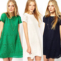 2016 New Women Short Sleeve Lace Party Loose Princess Mini Dress Dress Free Shipping WL2191