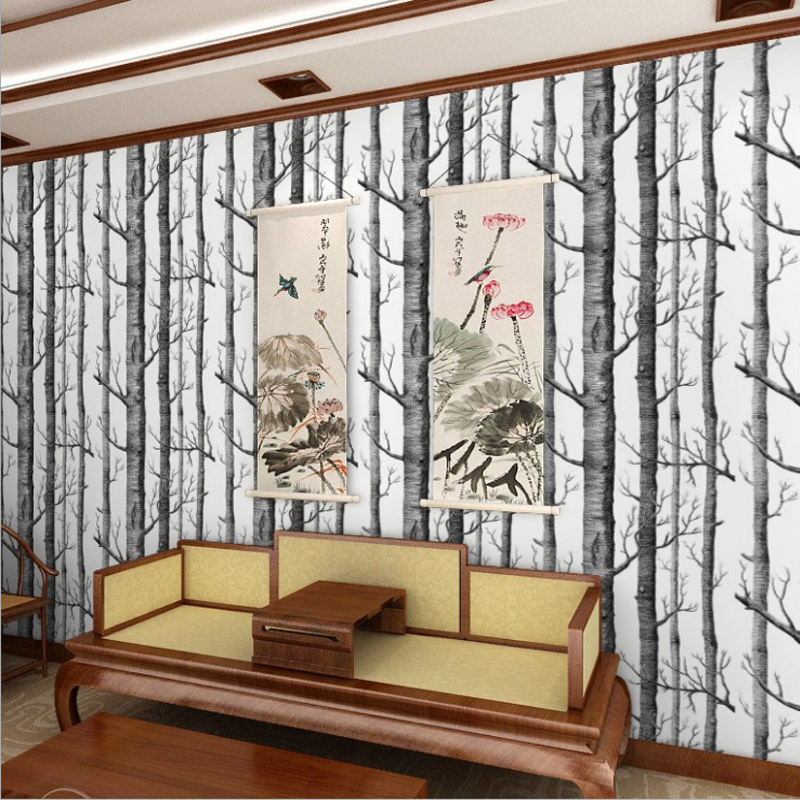 10M 3D Wood Wallpaper Forest Printing Papel De Parede Birch Tree Non-woven 3D Woods Wallpaper Roll Modern Designer WP16010 beibehang abstract black and white branches non woven wallpaper tree trunk tree birch forest background wall papel de parede