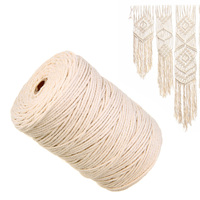1 Roll 3mmx220M Macrame Rope Natural Beige Cotton Twisted Cord Textile Strings for Artisan DIY Hand Craft Decoration Ornament