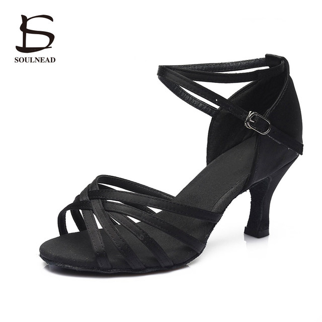 Salsa Latin Dance Shoes For Women Girls Tango Ballroom Dance Shoes High Heels soft Dancing Shoes 5/7cm Ballroom Dance Sandals