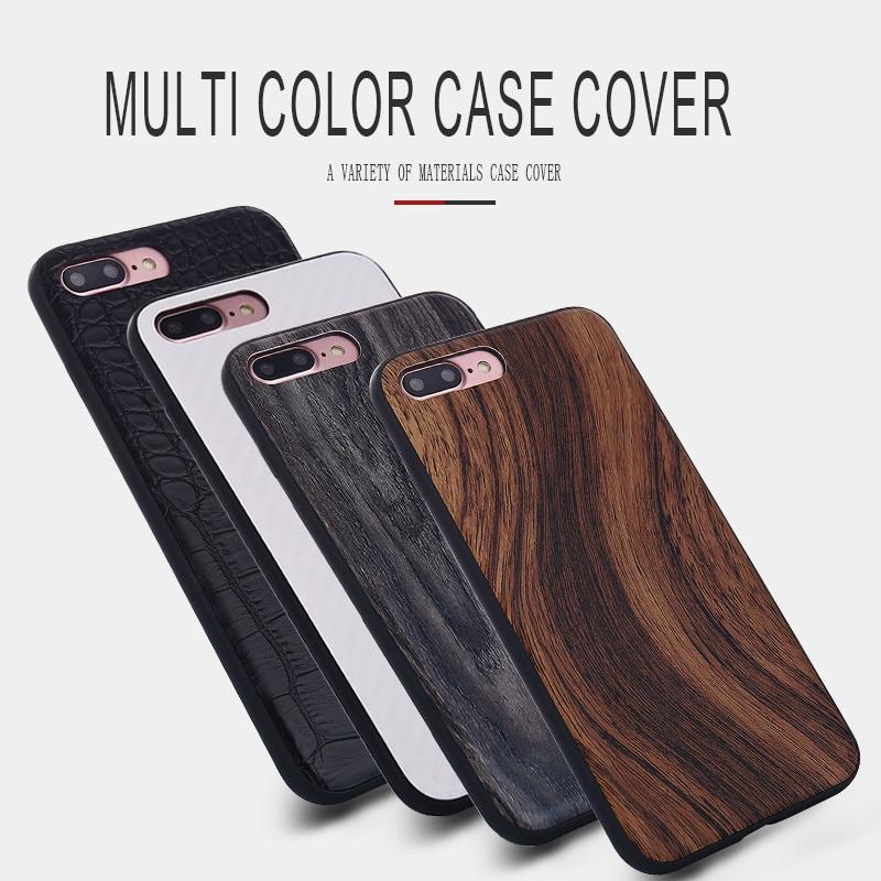 Komytoo ТПУ деревянный кожи чехол для iPhone 6 7 8 Plus x Чехол задняя крышка ультра тонкий чехол для Iphone 6S 7 8 плюс защитный В виде ракушки