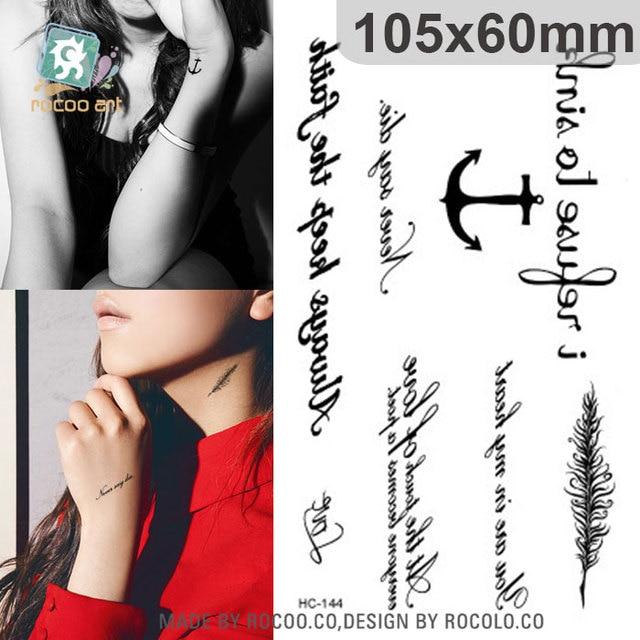 Waterproof Fake Tattoo Harajuku Black Words Anchor Leaf Design Women Finger Cute Flash Tattoo Temporary Tattoos Sticker