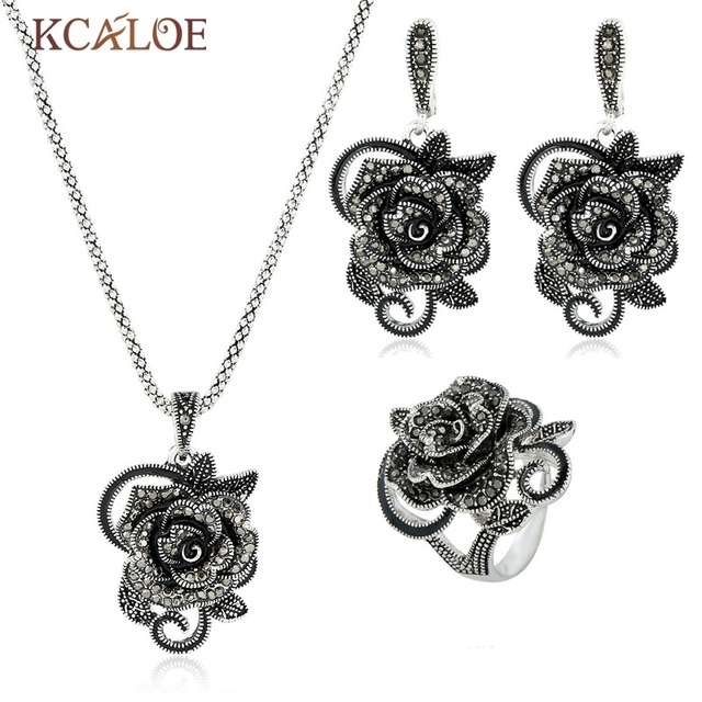 Wedding Necklace Earrings Ring Jewelry Sets Vintage Black Crystal Rhinestone Big Flower Antique Silver Plated Jewellery Set