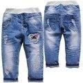 6063 buraco macio regular crianças jeans jeans bebê calças do menino & da menina DO BEBÊ meninas primavera outono calças moda de nova 2017 do bebê