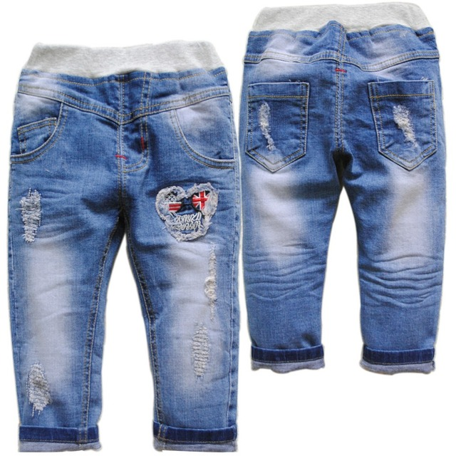 6063 hole  soft regular kids jeans baby DENIM jeans BABY boy&girl pants spring autumn girls trousers fashion new 2017 baby