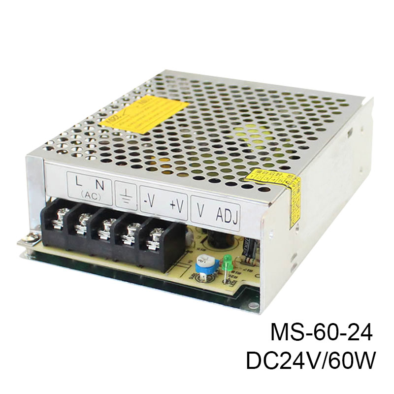 MS-60-24 Best quality 60W Switching Power Supply Driver for LED Strip AC 100-240V Input to DC 24V free shipping ms 50 24 24v 2 1a switching power supply 85 264v ac input 5v dc output 50w led driver
