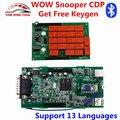 Mais novo WoW Snooper Com Bluetooth V5.008 R2 + Keygen TCS CDP Pro OBD2 Ferramenta de verificação Para Carros E Caminhões Ferramenta de Diagnóstico Novo CDP VCI