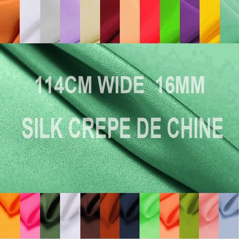 30 couleurs! vert bleu rouge soie crêpe de Chine tissu pour été robe chemise pantalon pyjama jupe 114 CM de large 16 MM No.31-60 F005