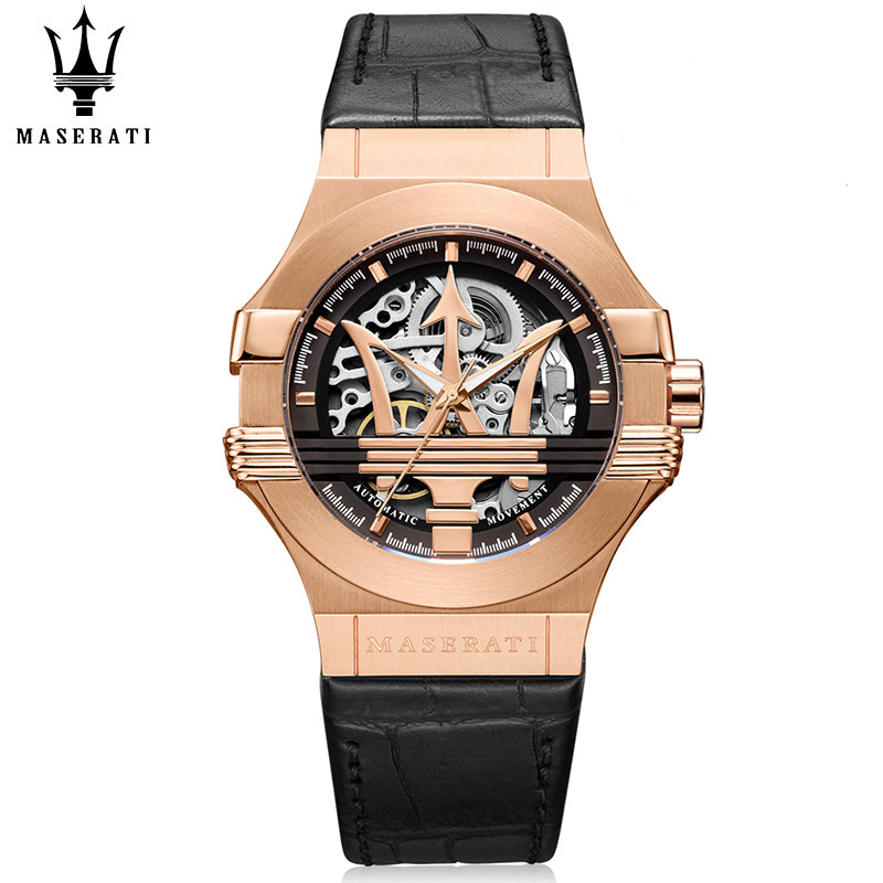 Maserati Velocita Mens Mechanical Wristwatches Tourbillon Automatic Classic Fashion Watches Genuine Leather Strap Wrist watches
