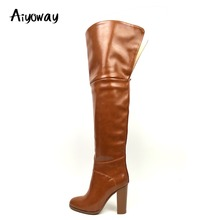 Aiyoway Women Over Knee Boots Block Heel Winter Autumn Party Fashion Ladies Round Toe High Heel Dress Shoes Slip On Size 5~17 все цены