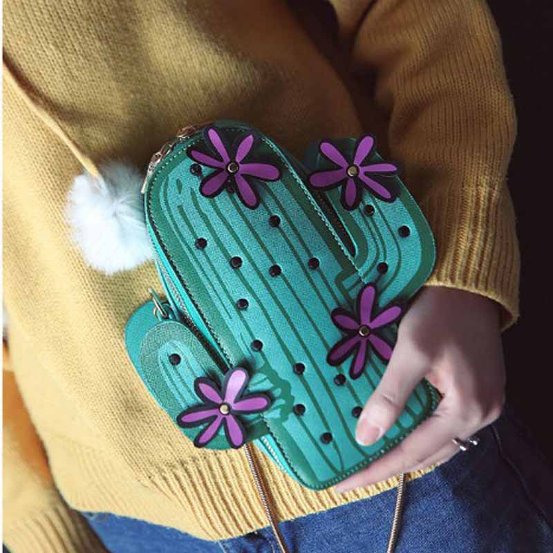 Laamei Women Embroidery Flowers Mini Chain Shoulder Bag Cute Green Cactus Shape Bag Flap Small Desinger Crossbody Bag For Women flower embroidery flap chain bag