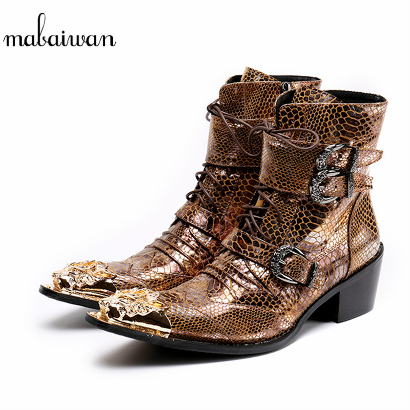 цена Mabaiwan 2018 Gold Dragon Pointed Toe Punk Style Men Shoes Military Cowboy Ankle Boots Lace Up Buckles Shoes Men Botas Hombre