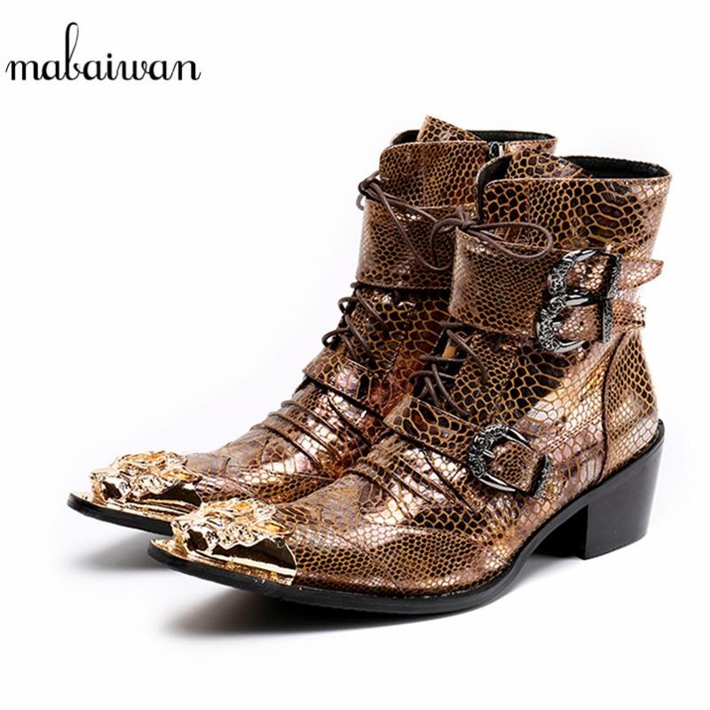 Mabaiwan 2018 Or Dragon Bout Pointu Punk Style Hommes Chaussures militaire Cowboy Bottines à Lacets Boucles Chaussures Hommes Botas Hombre