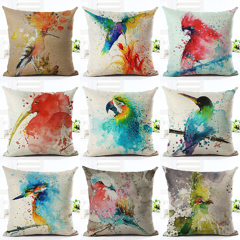 2017 Hot Selling Painted Style Bird Home Dekorativ Sofa Pude Kast Pudebetræk Cotton Linen Firkantede Pude