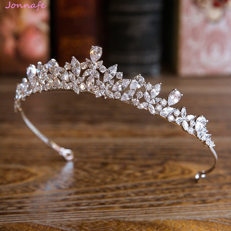 Jonnafe Shine Silver Color Women Prom Tiara Hairband Zircon Bridal Hair Crown Ornaments Wedding Hair Piece Accessories цена 2017