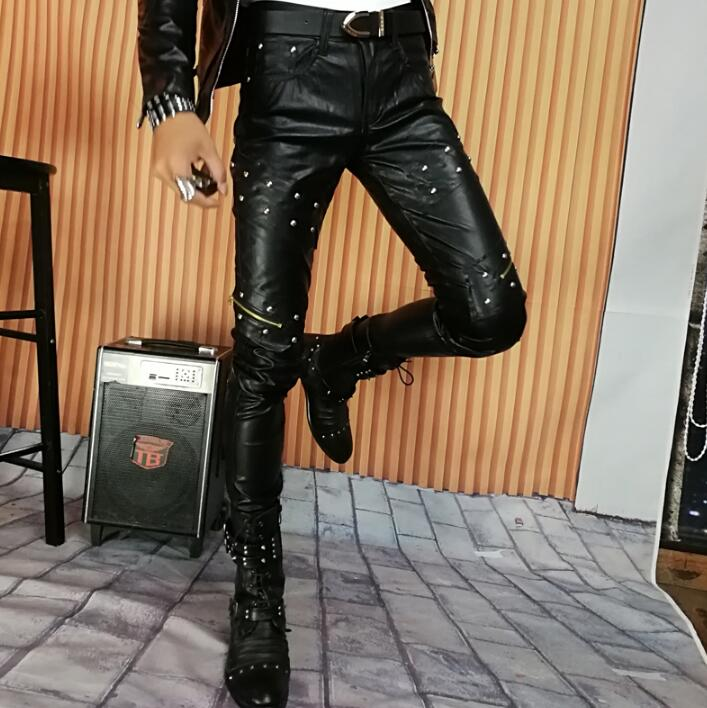 2018 Autumn Winter Personality Fashion Rivet Motorcycle Leather Pants Mens Feet Pants Pu Trousers For Men Pantalon Homme Stage