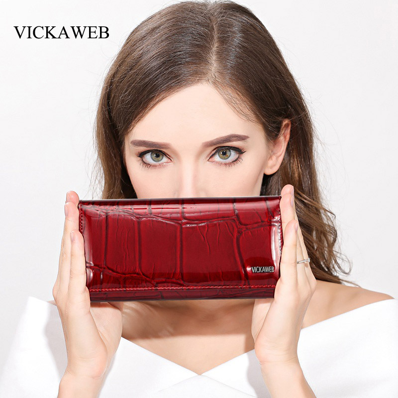 VICKAWEB Magnetic Hasp Wallet Women Genuine Leather Wallet Female Fashion Women Wallets Long Womens Wallets and Lady Coin Purses vickaweb genuine leather small wallet women wallets alligator short purse coins hasp girls wallet fashion female ladies wallets