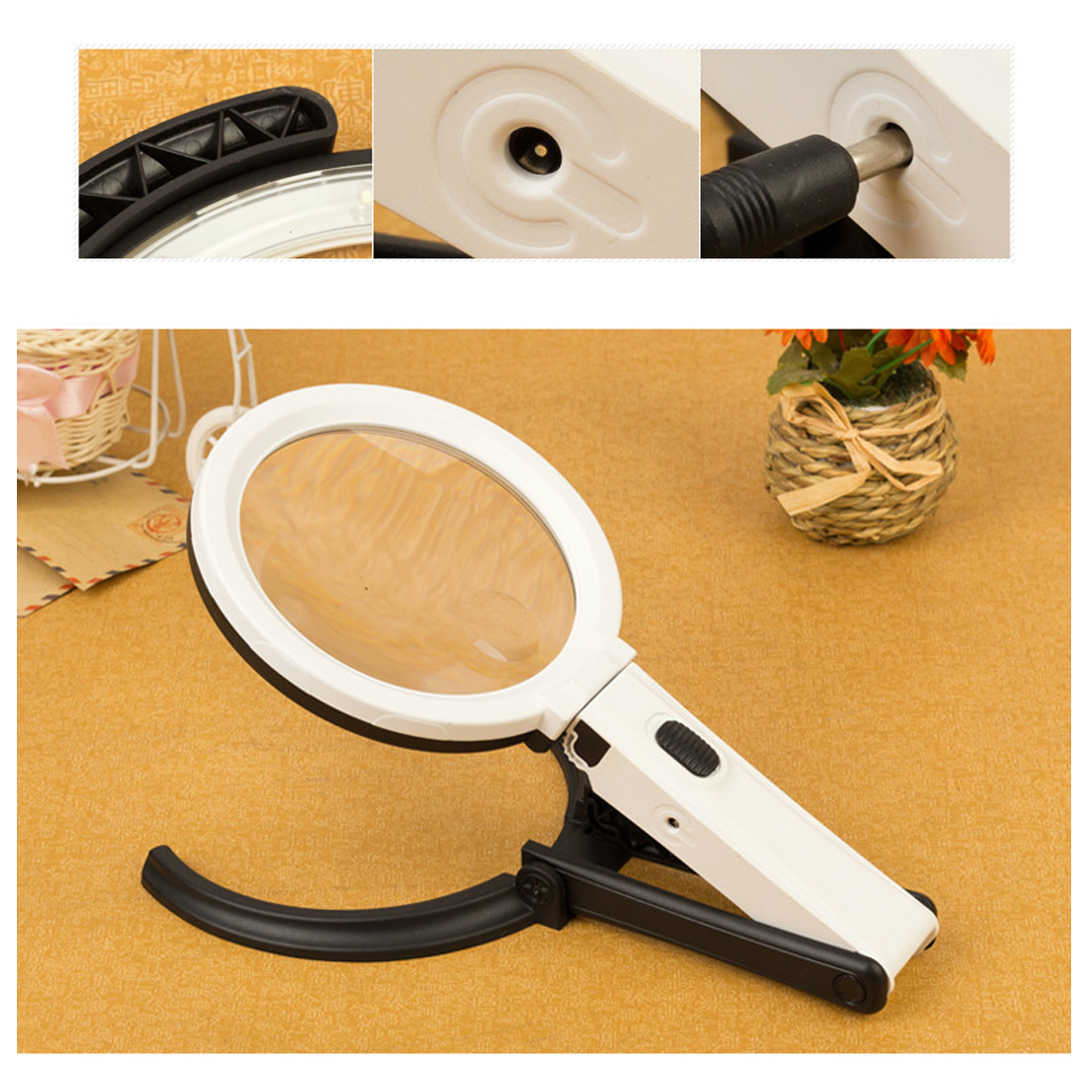 Handheld Foldable Loupe Portable 10 LED Light Magnifier Magnifying Glass with Light Lens Table Desk-type Lamp 2 x 120mm 5x 28mm portable 100 times the magnifying glass with light portable antique appraisal tools with leather jewelry