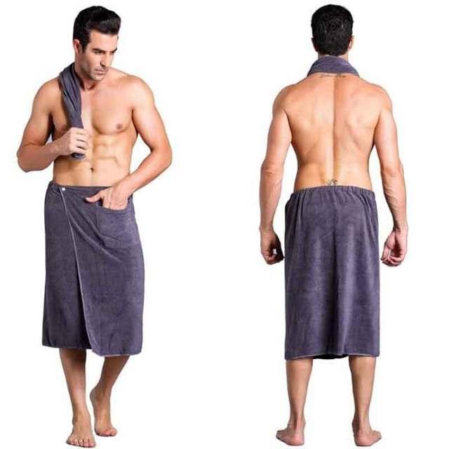2 pz/lotto Assorbimento Morbida Uomo Indossabile Mircofiber Spiaggia Telo da bagno per Adulti con Tasca Morbido Nuoto Solido Cotone 140x70 Asciugamano